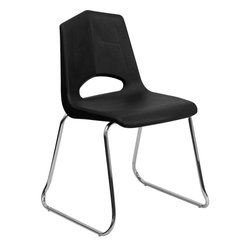 Flash Furniture - Hercules Series Black Plastic Sled Base Stack Chair with Chrome Frame - This multi-purpose sled base stack chair is very durable and sure to fit the needs of your environment. The chrome frame finish displays a sleek appearance for modern environments. The textured seat and back will assure safe and comfortable seating. This chair will make a great classroom, reception, meeting or office chair.
