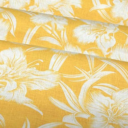 Cayo Hueso Tropical Linen Fabric in Yellow - Cayo Hueso Tropical Linen Fabric in Yellow has a tropical style floral pattern in a bright shade of yellow. This 100% linen fabric works well for a variety of applications including pillows and bedding, draperies, or table accents. Bring a bit of paradise into your home while providing the perfect color pop with this sunny fabric. Passes 3,000 double rubs. Cleaning code: S. Repeat: 24″ V x 27″ H; Width: 57″.