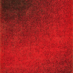 """Loloi - Loloi Barcelona Shag BS-01 (Red, Brown) 5'2"""" x 7'7"""" Rug - The new Barcelona Shag Collection offers a machine-made version of the hot category. The contemporary line is made in Egypt of polypropylene and viscose for just a touch of shimmer. Four designs in all include two solid styles, a playful Rainbow design and dramatic Fire pattern"""
