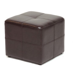 "Baxton Studio - Baxton Studio Nox Dark Brown Ottoman - This small but sturdy cube ottoman will add a sleek, sophisticated look to your living space.  With bonded leather panels stitched for added flair, you,l find the ottoman to be multifunctional as an example of great design, sturdy as a footrest, and well-built enough to use as a stool for extra seating.  Dark espresso brown bonded leather upholstery.  Individual leather panels stitched together create a square design on all sides.  Black fabric lining on bottom.  Black round plastic legs.  Sturdy for use as an ottoman or as seating.  16"" (W) x 16"" (D) x 15"" (H)"
