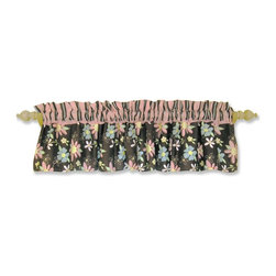 Trend Lab Baby - Trend Lab Blossoms Window Valance - 101571 - Shop for Window Treatments from Hayneedle.com! Bring the outside indoors with the Trend Lab Blossoms Window Valance. This valance has big bold flowers in pink and blue over a brown background. Above the brown fabric is a thin pink trim and a top of brown and pink stripes. At 82 inches wide it will fit most single and double windows. This valance coordinates with other items in the Blossoms collection.Trend Lab offers quality trend-right products that appeal to most parents. Even the name of the company expresses its commitment to market trends and emerging technology. To ensure you get only the best products Trend Lab uses fine materials and closely monitors the quality. With extensive experience in product development raw materials sourcing and manufacturing Trend Lab is able to deliver trendsetting products to the market.The extensive line of products includes crib bedding bumpers accent items gift items gift sets diaper bags and more. With all the coordinating pieces you can make your nursery both comfortable and visually appealing.
