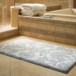 Frontgate - Giverny Bath Rug - Woven of 100% long-staple combed cotton. Slip-resistant backing. Features a solid-color border. Machine wash. Our Giverny Bath Rug weaves European elegance into exquisitely soft, long-staple combed cotton. The symmetry and grace of this exclusive pattern evokes neoclassic design. Woven to a lofty 1,800 gsm, the inch-thick rug pairs absorbency and comfort.  .  .  .  . Imported.