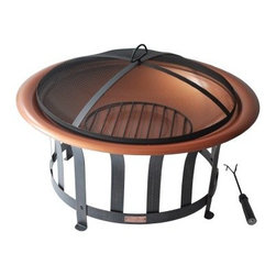 Panama Jack Round 30 in. Copper Plated Fire Pit with Metal Base - Black - Throw a few logs on the Panama Jack Round 30 in. Copper Plated Fire Pit with Metal Base - Black and get ready to spend some quality time outdoors. This set includes a safe and attractive spark-screen a log grate to protect the bowl and tongs to let you remove the grate without roasting your fingers. Ideally sized for medium fires the 30 inch copper plated bowl will patina nicely over time and last much longer than comparable steel fire bowls. About Hospitality Rattan Hospitality Rattan has been a leading manufacturer and distributor of contract quality rattan wicker and bamboo furnishings since 2000. The company's product lines have become dominant in the Casual Rattan Wicker and Outdoor Markets because of their quality construction variety and attractive design. Designed for buyers who appreciate upscale furniture with a tropical feel Hospitality Rattan offers a range of indoor and outdoor collections featuring all-aluminum frames woven with Viro or Rehau synthetic wicker fiber that will not fade or crack when subjected to the elements. Hospitality Rattan furniture is manufactured to hospitality specifications and quality standards which exceed the standards for residential use. Hospitality Rattan's Environmental Commitment Hospitality Rattan is continually looking for ways to limit their impact on the environment and is always trying to use the most environmentally friendly manufacturing techniques and materials possible. The company manufactures the highest quality furniture following sound and responsible environmental policies with minimal impact on natural resources. Hospitality Rattan is also committed to achieving environmental best practices throughout its activity whenever this is practical and takes responsibility for the development and implementation of environmental best practices throughout all operations. Hospitality Rattan maintains a policy of continuous environmental improve
