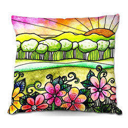 DiaNoche Designs - Pillow Woven Poplin from DiaNoche Designs by Robin Mead - Bright Horizon - Toss this decorative pillow on any bed, sofa or chair, and add personality to your chic and stylish decor. Lay your head against your new art and relax! Made of woven Poly-Poplin.  Includes a cushy supportive pillow insert, zipped inside. Dye Sublimation printing adheres the ink to the material for long life and durability. Double Sided Print, Machine Washable, Product may vary slightly from image.