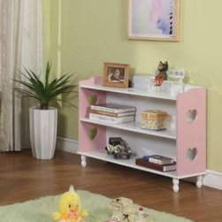 Pink / White Finish Wood Heart Design - Store and organize kids' books and toys in this cute wood bookshelf with heart cutouts.