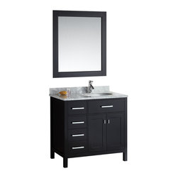 "Design Element - Design Element London 36"" Espresso Modern Single Sink Vanity Set - Left - The London 36"" Single Sink Vanity Cabinet Set is constructed with solid wood and provides a contemporary design perfect for any bathroom remodel. The ample storage in this free-standing vanity set includes one flip-down shelf, four fully functional drawers and one double door cabinet each accented with brushed nickel hardware. The cabinet itself is available in an espresso or white finish and the set is complete with a carrara white marble counter top and matching framed mirror."