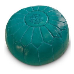 Moroccan Ottoman - Turquoise - Genuine leather Moroccan ottoman Handmade in Morocco Weighs 10 pounds Dimensions: 20 diam. x 14H inches