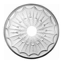 Renovators Supply - Ceiling Medallions Urethane Ceiling Medallion 27'' Dia x 4'' - Ceiling Medallions: Made of virtually indestructible  high-density  urethane our medallions are cast from  steel molds  making them the highest quality on the market. Steel molds provide a higher quality result for  pattern consistency, design clarity & overall strength & durability.  Lightweight they are  easily installed  with no special skills. Unlike plaster or wood urethane is resistant to  cracking, warping or peeling.   Factory-primed  these medallions are ready for finishing. NOTE: Images medallions with a center opening may not be represented to scale, appearing larger or smaller than they actually are.