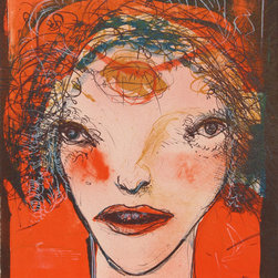 Leonel Gongora, Portrait of a Woman with Red Cheeks, Lithograph - Artist:  Leonel Gongora, Colombian (1932 - 1999)