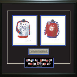 """Heritage Sports Art - Original art of the NHL 1991-92 NHL All-Star jersey - This beautifully framed piece features two pieces of original, one-of-a-kind artwork. Both images are glass-framed in an attractive two inch wide black resin frame with a double mat. The outer dimensions of the framed piece are approximately 28"""" wide x 24.5"""" high, although the exact size will vary according to the size of the original art. At the core of the framed piece is the actual piece of original artwork as painted by the artist on textured 100% rag, water-marked watercolor paper. In many cases the original artwork has handwritten notes in pencil from the artist. Simply put, this is beautiful, one-of-a-kind artwork. The outer mat is a rich textured black acid-free mat with a decorative inset white v-groove, while the inner mat is a complimentary colored acid-free mat reflecting one of the team's primary colors. The image of this framed piece shows the mat color that we use (Medium Blue). Beneath the artwork is a silver plate with black text describing the original artwork. The text for this piece will read: These are original, one-of-a-kind watercolor paintings of both of the 1991-92 NHL All-Star """"throwback"""" jerseys. These jersey images have been, and continue to be, used to celebrate the history of the NHL All-Star game in posters like the one shown below as well as game programs, magazines and websites across North America. Beneath the silver plate is a 3"""" x 9"""" reproduction of a well known, best-selling print that celebrates the history of the team. The print beautifully illustrates the chronological evolution of the team's uniform and shows you how the original art was used in the creation of this print. If you look closely, you will see that the print features the actual artwork being offered for sale. The piece is framed with an extremely high quality framing glass. We have used this glass style for many years with excellent results. We package every piece very carefully in a doub"""