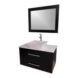 Modern Contemporary Bathroom Vanity *WALL MOUNT* - Cabinet is made out of  Pure Oak Wood