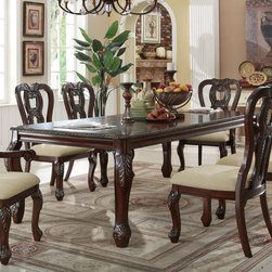 Coaster - Alexander Extension Dining Table, Cherry - Turn back time with the glorious design of the Alexander dining collection a traditional style comes alive with intricate carvings, sculpted bases and legs and comfortable upholstered seat cushions. The dining table features an 18 extension leaf to accommodate your guests. Crafted from select hardwoods, cherry and burl veneers, this collection is sure to impress guests.