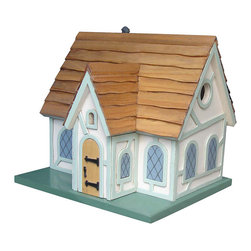 Home Bazaar - Fairy Tale Cottage Birdhouse - Inspired by magical tales, this avian haven lets feathered friends cozily nest as it imparts ample charm to your garden. Its removable back wall allows for easy maintenance.   10'' W x 11'' H x 9'' D Plyboard hardwood / pine / polyresin / red cedar No assembly required Imported
