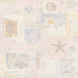 Brewster Home Fashions - Evie Light Pink Seashell Mosaic Wallpaper Bolt - Bring the sea home to stay with this mosaic wallpaper full of time-worn charm. Seashells blended with beautiful handwritten script add fresh detail to walls in a pretty pastel palette.