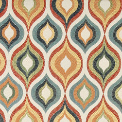 Red, Green, Blue, Orange and Gold, Contemporary Upholstery Fabric By The Yard - This contemporary upholstery jacquard fabric is great for all indoor uses. This material is uniquely designed and durable. If you want your furniture to be vibrant, this is the perfect fabric!
