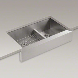 """KOHLER - KOHLER Vault(TM) 35-1/2"""" x 21-1/4"""" x 9-5/16"""" under-mount Smart Divide(R) large/m - Handcrafted from stainless steel, Vault brings bold new style to the traditional farmhouse sink. Tightly angled corners maximize basin space, and a lowered divider offers freedom of movement between basins. An included bottom basin rack fits the large bow"""