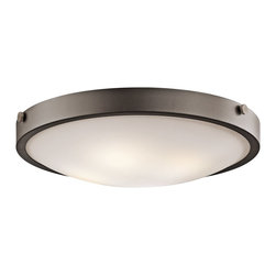 Kichler Lighting - Kichler Lighting 42276OZ Lytham Transitional Flush Mount Ceiling Light - This versatile 4 light flush mounted ceiling fixture features a warm, Olde Bronze finish and Stain Etched White Glass that will effortlessly highlight any space in your home.