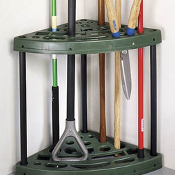 Trademark Global - Yard Tool Corner Storage Rack - Cluttered garden tools. Space saving design. 18 tool slots. Made from durable plastic. No assembly required. 23.55 in. W x 15.75 in. D x 21.89 in. H (5 lbs.)Organize your yard and garden tools with the yard tool corner storage rack by trademark home collection. It can be dangerous and inconvenient. Not only can you burn precious daylight looking for a tool in an unruly mess, but worse yet you can take a rake to the face! Put your yard tools in their place and take control of your shed or garage. The yard tool corner storage rack will allow you to save valuable space and keep your tools organized. Reclaim your garage or shed with corner storage rack.