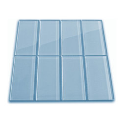 "Subway Tile Outlet - Sky Blue Glass Subway Tile - The Sky Blue Glass Subway Tile is made from the strongest stain-resistant crystal clear glass. These tiles have a 8mm thickness that increases their durability and the depth of their color making them truly beautiful subway tiles. These subway tiles can be used for commercial or residential construction in either a wet or dry environment.  Our Sky Glass Subway tile can be directly compared to Lush™ Sky at $21.95.    These Subway tiles are sold by the square foot comprised of 8  mesh mounted tiles. The individual tiles measure 3""x6""."
