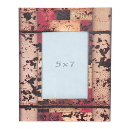 "Oriental Furniture - Vintage Abstract 5x7"" Picture Frame - Faux-aged patterned picture frame. Frame features a decoupaged print of a warm-toned vintage collage-art style image beneath a dark distressed overlay. Fits a 5-by-7-inch photograph behind a durable Plexiglass panel. Easy access through back panel for photo changing. Mounting hardware included on back."