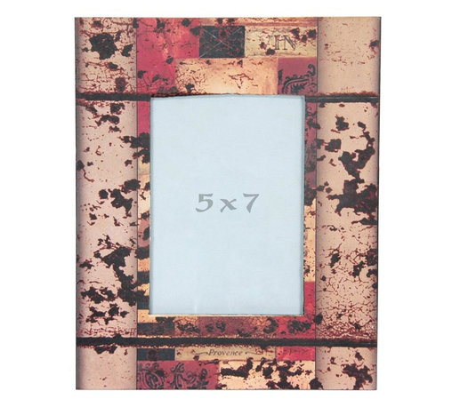"""Oriental Furniture - Vintage Abstract 5x7"""" Picture Frame - Faux-aged patterned picture frame. Frame features a decoupaged print of a warm-toned vintage collage-art style image beneath a dark distressed overlay. Fits a 5-by-7-inch photograph behind a durable Plexiglass panel. Easy access through back panel for photo changing. Mounting hardware included on back."""