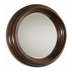 """Uttermost - Matthew Williams Cristiano Traditional Round Mirror X-B 10910 - Mirror features a solid, 9"""" thick wood frame finished in heavily distressed dark chestnut brown with burnished details. Mirror has a generous 1 1/4"""" bevel."""