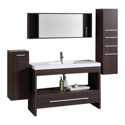 "Legion Furniture - 47 Inch Single Sink Bathroom Vanity - This 47 inch modern single sink bathroom vanity is a perfect center piece for your bathroom project.  This Clove Brown bathroom vanity features 1 Drawer, 1 Shelf; Soft Close Hinges , and a White Resin with Integrated Sink counter top with a Integrated White Resin sink that is Pre-Drilled for Standard Single Hole Faucet (Not Included) (not included). Large opening in back for easy plumbing installation.  Dimensions: 47""W X 19""D X 33""H; Counter Top: White Resin with Integrated Sink; Finish: Clove Brown; Features: 1 Drawer, 1 Shelf; Soft Close Hinges; Hardware: Chrome; Sink(s): Integrated White Resin; Faucet: Pre-Drilled for Standard Single Hole Faucet (Not Included); Assembly: Light Assembly Required; Large cut out in back for plumbing; Included: Cabinet, Sink, Mirror with Storage (47.5""W X 5""D X 18""H), Wall Cabinet (12""W X 13""D 31.5""H), Wall Cabinet (12""W X 13""D X 47.5""H); Not Included: Faucet, Backsplash"
