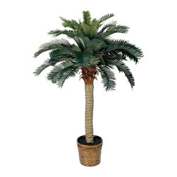 4' Sago Silk Palm Tree - Standing a perky 4 feet tall this palm-like tree is a fabulous tropical accent for your home or office. Sizeable enough to liven up any space yet compact enough to fit any size room. Not a detail was missed, from its dark olive green leaves down to the sturdy spiny trunk. This tree is so natural, you may be tempted to water it. Height= 4 ft x Width= 36 in x Depth= 36 in
