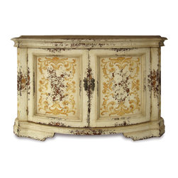 Parma Buffet, Distressed Antique French White with Espresso and Scrolls - Parma Buffet, Distressed Antique French White with Espresso and Scrolls