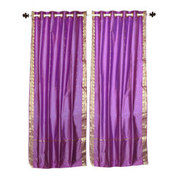 Indian Selections - Lavender Ring Top  Sheer Sari Curtain / Drape / Panel   - 60W x 84L - Piece - Size of each curtain: 60 Inches wide X 84 Inches drop. Sizing Note: The curtain has a seam in the middle to allow for the wider length  Made from Polyester Sari fabric  Top: 2 Inch Ring Top. Can accommodate rods up to 1.5 inches diameter  Machine Wash
