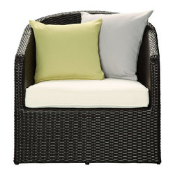Modway Furniture - Modway Cozy Patio Armchair in Espresso White - Patio Armchair in Espresso White belongs to Cozy Collection by Modway Position yourself into a chair that you can get lost in. While other outdoor chairs pride themselves on their sparse nature, Cozy lets you bask in the sun without compromising on comfort. Cozy's extended backrest frame and plush seat help keep your posture while you approach relaxation with resolve. Comprised of a UV resistant rattan base, a powder-coated aluminum frame and all-weather cushions, Cozy is perfect for patios, pool areas, hotels, resorts, balconies or any outdoor space in need of something snug. Set Includes: One - Cozy Outdoor Wicker Rattan Patio Armchair Patio Chair (1)
