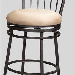Chintaly - Scrolled Metal Swivel Counter Stool with Padd - Inspired by European sidewalk cafes, this lovely counter stool is as durable as it is attractive.  Graceful and elegant, the spindle back features a sweeping arch with elaborate scroll design between the two finial-topped posts.  The round swivel seat is thickly padded for comfort in a luxurious microfiber fabric that will enhance any decor.  This attractive stool is the perfect height for standard bars and pub tables. Bar Stool pictured. Padded seat. Micro-fiber upholstery. Made from Metal. No assembly required. Seat: 26 in. H