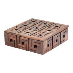 Lazy Susan - Lazy Susan Set of 2 Black Square Teak Curio Boxes - Lazy Susan S/2 BLACK SQUARE TEAK CURIO BOXES 784071