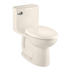 "American Standard - American Standard 2403.128.222 Compact Cadet 3 FloWise Elongated Toilet, Linen - American Standard 2403.128.222 Compact Cadet 3 FloWise Right Height Elongated One-Piece Toilet, Linen. This single-piece toilet features a Right Height elongated bowl, a 12"" Rough-in, an EverClean surface that inhibits the growth of bacteria, mold, and mildew, an oversized 3"" flush valve, a color-matched solid plastic toilet seat and cover with slow-close hinges, a fully-glazed 2-1/8"" trapway, and 2 color-matched bolt caps."