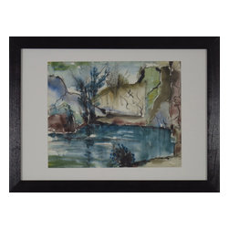 Consigned Abstract Watercolor Painting, Lakeshore - Original watercolor of lakeshore. Abstract with bold moving colors.