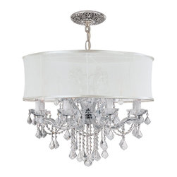 Crystorama - Crystorama 4489-CH-SMW-CLM Brentwood Chandelier - This isn't your Grandmother's crystal. The Brentwood Collection from Crystorama offers a nice mix of traditional lighting designs with large tailored encompassing shades. Adding either the Harvest Gold or the Antique White shade to these best selling skus