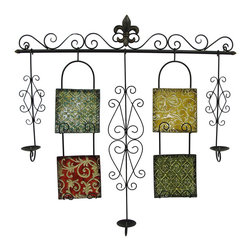 Zeckos - Baroque Style Metal Scrollwork and Tiles Decorative Wall Candelabra - Make everything more beautiful in candlelight with this baroque style wall hanging featuring 3 pillar style candle holders (candles up to 3.5 inches diameter, not included). Ready to light up any evening, this romantically elegant metal wall sculpture features classic black rustic finish scroll-work, and colored metal tiles highlighted with glittery accents, and it easily mounts using the attached hangers on the back. Welcome guests with the instant ambiance of candlelight in your entryway, add mood lighting above the fireplace or in your bedroom above the bed. Whether in the bath, dining or formal living room, the golden glow from your favorite candles makes this 42 inch high, 42 inch wide (107x107 cm), 5.5 inch (14 cm) wide statement piece complete. It's a great wedding, anniversary or housewarming gift sure to be enjoyed