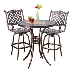Great Deal Furniture - Pomelo Outdoor 3pc Bistro Bar Stool Set - The Pomelo bistro bar stool set is a beautiful addition for your outdoor decor. Made from cast aluminum, the set includes two bar stools and one round table. The features include intricate details in both the chairs and table design, with a mesh table top, swivel seat and backrest. The antique shiny copper finish is neutral to match any outdoor furniture and will hold up in any weather condition. Whether in your backyard, patio, deck or even your restaurant outdoor dining space, you'll enjoy this set for years to come.
