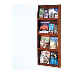 "Wooden Mallet - Eight Magazine and Sixteen Brochure Wall Display - Wooden Mallet's full-view literature displays are a classic and beautiful way to display your literature. Slanted back shelves allow full view of literature while keeping it neat and organized. Available in three designer colors to coordinate with any dcor. Add our optional floor stand to create a floor display. Features: -Available in light oak, medium oak or dark red mahogany finishes. -Furniture quality construction with solid oak sides and shelves sealed in a durable state-of-the-art finish. -Wood finishes perfectly compliment Wooden Mallet's Dakota Wave furniture collections. -Removable dividers keep literature and magazines neat and orderly so that you can display 4"" brochures or 8 1/2"" x 11"" and wider literature. -All racks are predrilled with hardware included for simple wall mounting. -Optional floor stand is sold separately for 49"" tall displays. -No assembly required. -All Wooden Mallet products are warrantied for one year against defects in materials and workmanship. Specifications: -Pocket Dimensions: 11.5"" H x 18"" W x 1.25"" D. -Rack Dimensions: 49"" H x 19.5"" W x 4.75"" D."