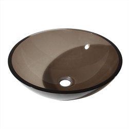 Avanity - Tempered Glass Vessel - Brown - The Avanity vessel sink in Clear Brown Glass adds a touch of contemporary style to your bath. The sink is made from durable tempered glass and features a chocolate brown finish and round design.  It is designed to install above the counter, a mounting ring is required to complete the look