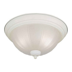 Forte Lighting - Forte Lighting 20000-02 Energy Efficient Fluorescent 11.25Wx6H Indoor Flushmount - Two Light Ceiling FixtureEnergy Efficient FixtureFeatures Ribbed Frosted Glass2 13w 4-Pin Quad Fluorescent Bulbs (Included)