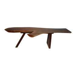 Handcrafted by Laurens Cotten - Nakashima inspired live edge walnut coffee table - The graceful shape, rich color, unique grain, exquisite finish and top notch workmanship each contribute to the beauty of this Nakashima-inspired coffee table. It is much more than fine furniture...it is a work of art.
