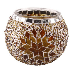 Art-Win Lighting CH11010 Handmade Mosaic Candle Holder, Brown - Handmade in Istanbul, Turkey. Hand-crafted item is produced with glass-on-glass technique. Tradition of centuries is now available for you. Fine handmade mosaic lamps that require years of experience and specialized craftsmanship are carefully manufactured by Art-Win Lighting.