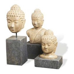 Interlude Home - Interlude Home Kosala Buddhas - This Interlude Home Buddhas is crafted from Iron and Marble and finished in Rustic Iron and Black.  Overall sizes are: 5 in. W  x  5 in. D x 18 in. H.  8 in. W  x  5 in. D x  17 in. H.