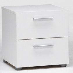 Pepe Night Stand - The Pepe night stand is a bedside table solution for small spaces, or can be additional storage combined with the matching chest or double dresser.  The Pepe night stand is constructed from manufactred wood and has a white laminate finish.