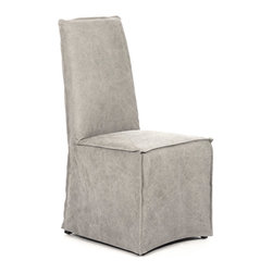 Kathy Kuo Home - Calistoga Industrial Washed Canvas Distressed Gray Dining Chair - This comfortable chair is the perfect companion for our Calistoga Dining Table. Crafted from wood and upholstered in industrial washed grey cotton, this muted modern chair can stand alone in a bedroom or in front of a vanity. It also complements our Calistoga Dining Set for the casual comfort of your family as you gather to share meals and make memories..