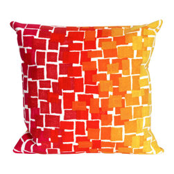 "Trans-Ocean - Ombre Tile Red Pillow - 20"" SQ - The highly detailed painterly effect is achieved by Liora Mannes patented Lamontage process which combines hand crafted art with cutting edge technology.These pillows are made with 100% polyester microfiber for an extra soft hand, and a 100% Polyester Insert.Liora Manne's pillows are suitable for Indoors or Outdoors, are antimicrobial, have a removable cover with a zipper closure for easy-care, and are handwashable."