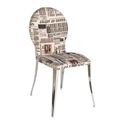 Euro Style - Farid Dining Chair - Set of 2 - Set of 2. Fabric seat with newspaper headlines print. Chromed steel base. 21.5 in. W x 19 in. D x 35 in. H (13.9 lbs.)Grand ideas for small spaces, the smooth and clean geometric shapes give your rooms a trendy, up-to-date look. The furniture design make your rooms stylish and sophisticated, symbolizing your self confidence.