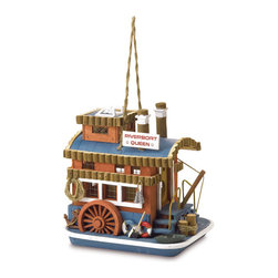 """Anzy - Queen Boat Birdhouse - This cute little tug is sure to chug its way into your heart! Nostalgically fashioned after old-time paddleboats, this winsome birdhouse brings the carefree air of the Old Mississippi River to your backyard. Measures:  9 5/8"""" x 7 1/2"""" x 10"""" high."""
