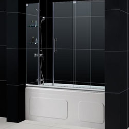 """Dreamline - Mirage 56 to 60"""" Frameless Sliding Tub Door, Clear 3/8"""" Glass Door - The Mirage tub door delivers a unique design and the look of custom glass at an unbelievable value. Most sliding shower doors require substantial aluminum framing, but the Mirage uses innovative hardware to provide the space-saving benefits of a sliding door without compromising the beauty of a completely frameless glass design."""